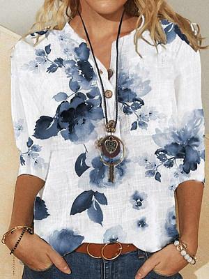 V-Neck Floral Print Three-Quarter Sleeve Casual Ladies Shirt