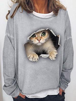 Round Neck Cat Print Loose Stitching Pullover Sweatshirt