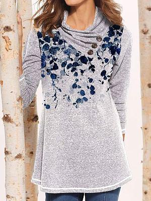 Floral Print Loose Long Sleeve T-shirt