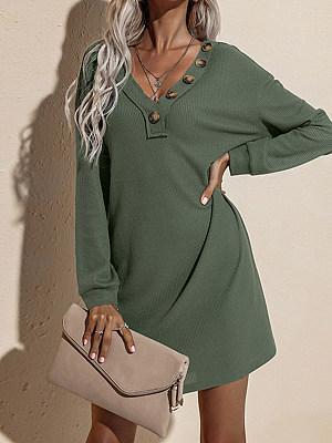 Berrylook coupon: V-neck Button Knit Dress
