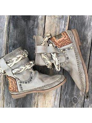 BERRYLOOK Women's Retro Studded Martin Boots