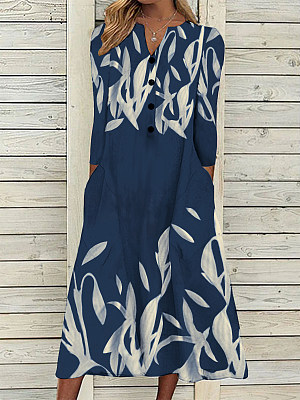 Women's Floral Print V Neck Buttons Long Sleeves Maxi Dress