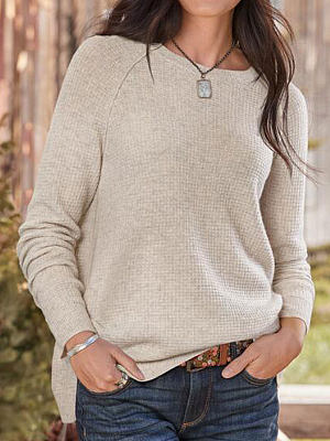 Pure Color Round Neck Long-sleeved Loose Casual Fashion Sweater