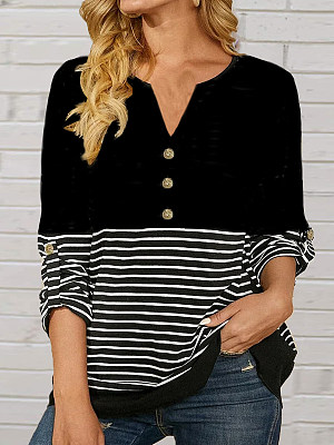 Berrylook coupon: Casual Stripe V Neck Buttons Long Sleeves Loose T-shirt