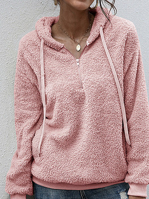 Berrylook coupon: Autumn And Winter Solid Color Casual Women Plush Sweatshirt