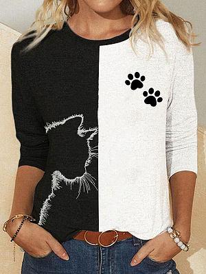 Berrylook coupon: Colorblock Cat Print Round Neck Long Sleeve Casual T-shirt