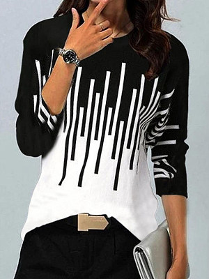 Berrylook coupon: Long-sleeved Round Neck Striped Printed T-shirt