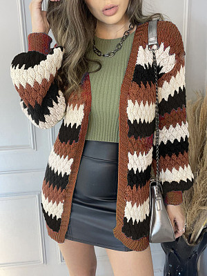 Casual Color-block Knitted Cardigan Sweater