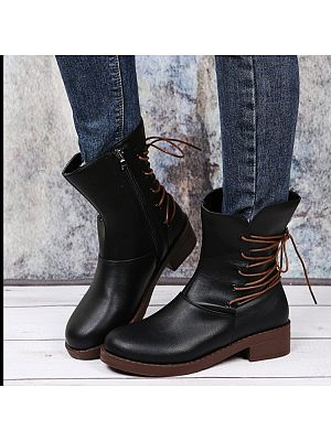BERRYLOOK Women's British Style Lace Up Boots