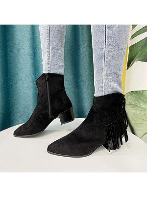 BERRYLOOK Women's Retro Tassel Ankle Boots