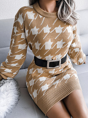 Casual Lantern Sleeve Houndstooth Knitted Sweater Dress