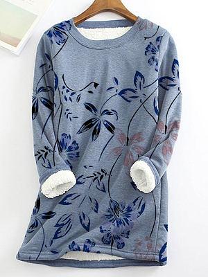 Round Neck Print Plus Velvet Loose Long-sleeved T-shirt