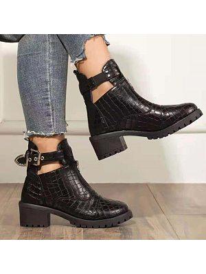 BERRYLOOK Women's Buckle Thick Heel Martin Boots