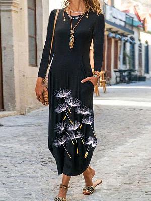 Fashionable Dandelion Print Round Neck Long Sleeve Casual Maxi Dress