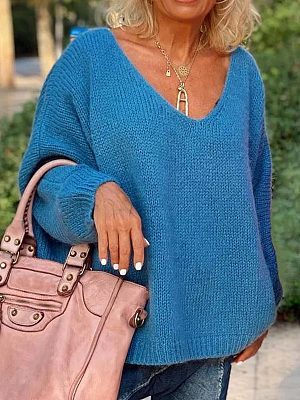 Berrylook coupon: V-neck Solid Color Casual Knit Pullover