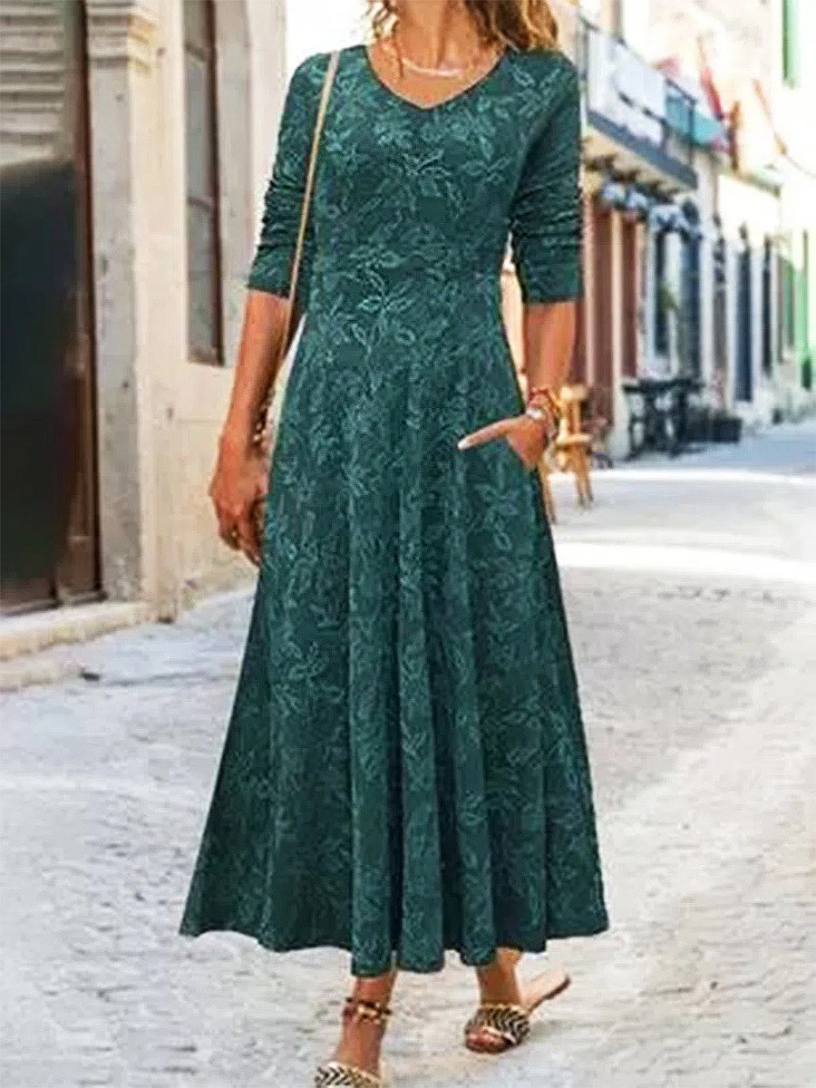 Casual Floral Print V Neck Long Sleeves Maxi Dress