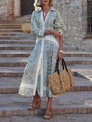 Fashion Vintage Print Button-up Maxi Dress Women