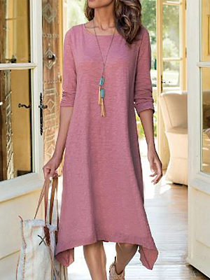 Pure Color Round Neck Casual Long-sleeved Maxi Dress