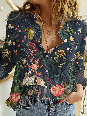 Women's Floral Graphic Long Sleeve Button Print Blouse