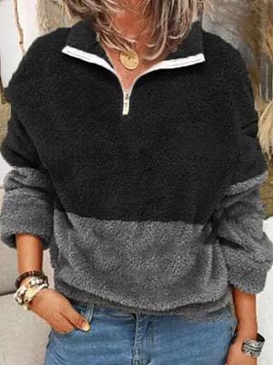 Polo Collar Color Block Loose Casual Long Sleeve Sweatshirt