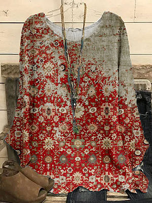 Fashion Retro Printed Round Neck Casual Long-sleeved Blouse