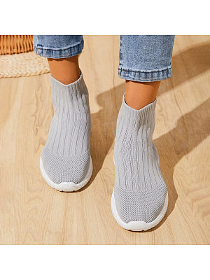 BERRYLOOK Casual Fly-Knit Stretch Boots