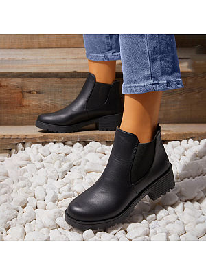 BERRYLOOK Slanting Elastic Slip-on Ankle Boots