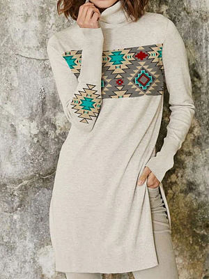 Fashion Ethnic Print Pile Collar Long-sleeved Casual T-shirt