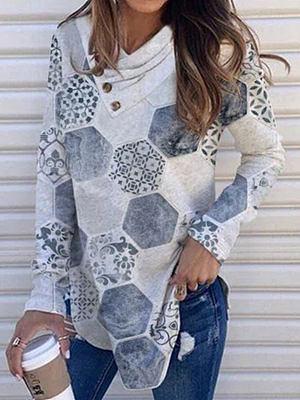 Fashion Rhombus Print Pile Collar Casual Long-sleeved T-shirt