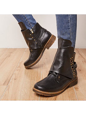 BERRYLOOK Thick-Soled Low-Cut Thick-Heel Martin Boots