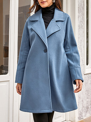 Ladies Casual Loose Lapel Woolen Coat