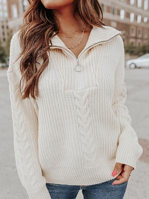 Fashion Cable Details Zipper V-neck Sweater Women