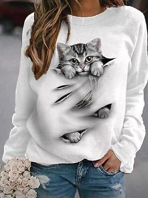 Women's Cat Print Long Sleeve T-Shirt
