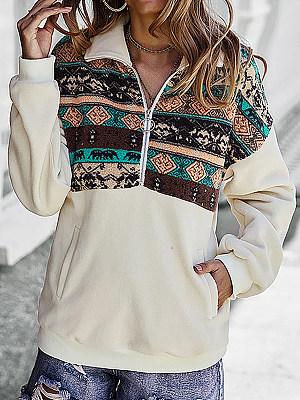 Casual Print Long-Sleeved Lapel Sweatshirt