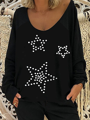 Women's Casual Star Print Loose T-shirt