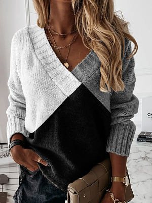 V-neck Contrast Stitching Loose Sweater Pullover