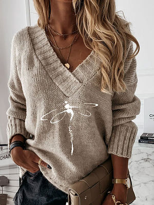 V-neck Dragonfly Print Loose Sweater Pullover