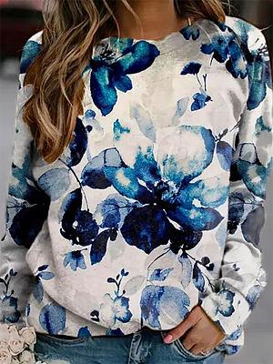 Flower Print Round Neck Fashion Long-sleeved Casual Sweatshirt