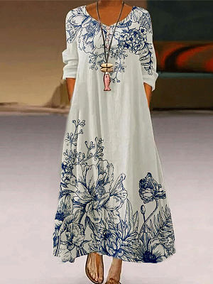 Fashion Flower Print Round Neck Long Sleeve Casual Maxi Dress