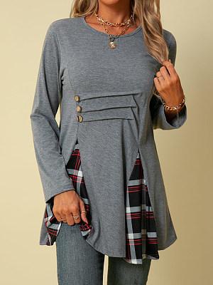Women's Casual Plaid Stitching T-shirt