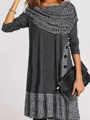 Women's Casual Heap Collar Stitching Decorative Buttons Dress