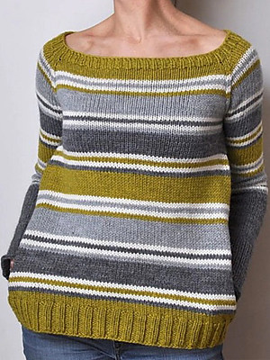 Casual Color Matching Crew Neck Long Sleeves Loose Sweater
