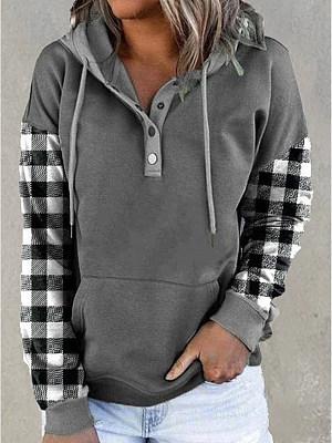 Casual Plaid Print Long-Sleeved Hooded Sweatshirt
