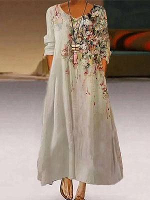 Berrylook coupon: Flower Print Fashion Round Neck Long Sleeve Casual Maxi Dress