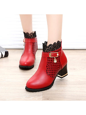 BERRYLOOK Thick Heel Ankle Boots