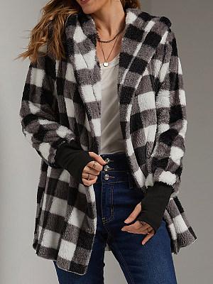 Fashion Gingham And Ribbed Cuff Lamb Jacket Women