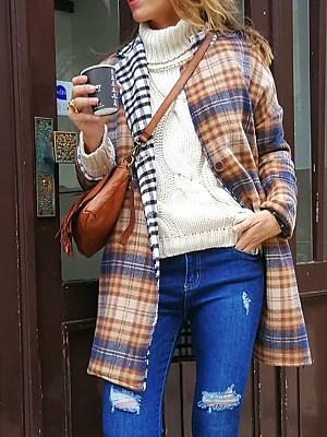 Fashion Plaid Print Color Block Coat Women