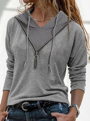 Fashion Solid Color V-neck Long-sleeved Casual T-shirt