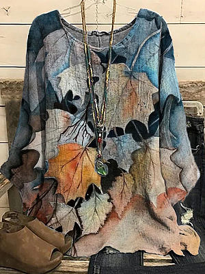 Fashion Leaf Print Round Neck Long Sleeve Casual Blouse