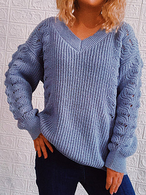 Berrylook coupon: Twist V-neck Long-sleeved Solid Color Pullover